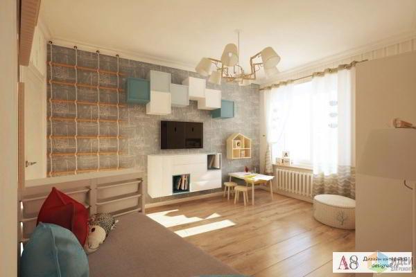 Дизайн трехкомнатной квартиры в стиле лофт.