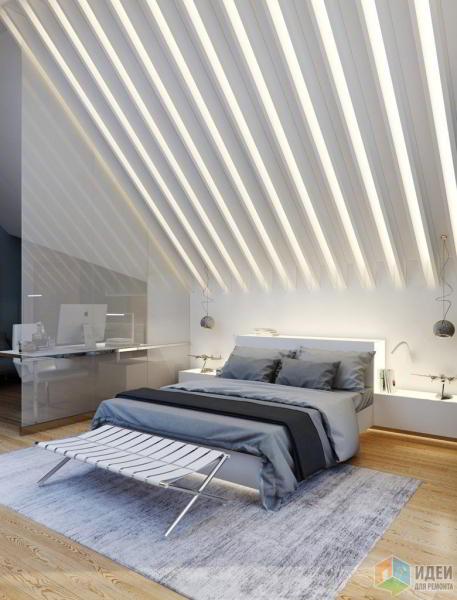 Дизайн комнаты в мансарде загородного дома. Санкт-Петербург